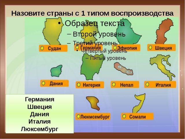 Назовите страны с 1 типом воспроизводства Германия Швеция Дания Италия Люксем...
