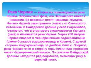 Река Черная — вторая по полноводности река Крыма. Любопытный факт, что Черная