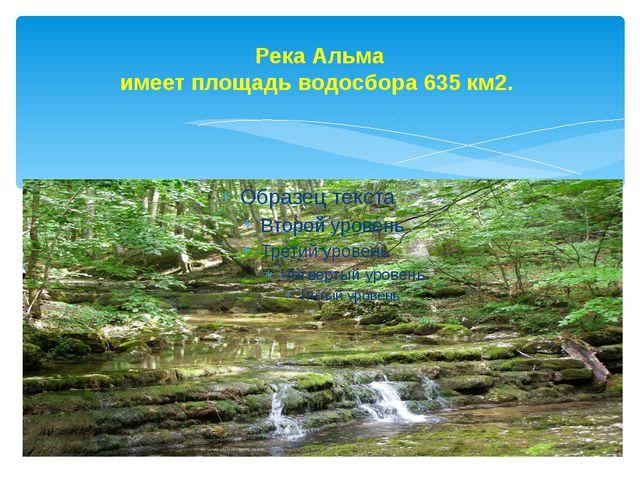 Река Альма имеет площадь водосбора 635 км2.