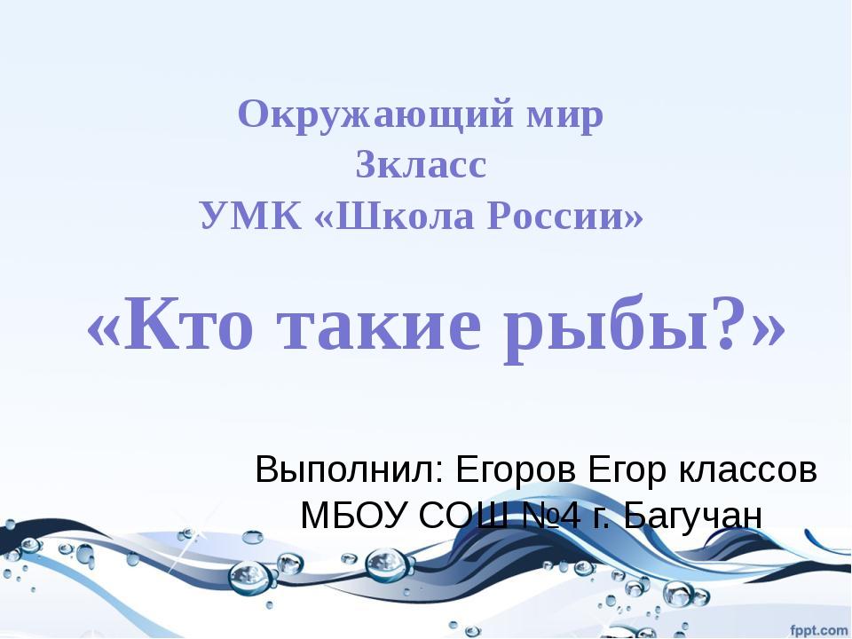 «Кто такие рыбы?» Выполнил: Егоров Егор классов МБОУ СОШ №4 г. Багучан