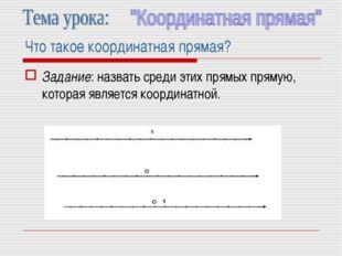 Что такое координатная прямая? Задание: назвать среди этих прямых прямую, кот