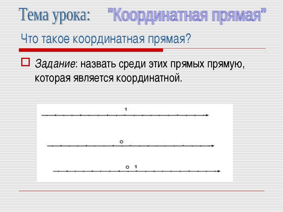 Что такое координатная прямая? Задание: назвать среди этих прямых прямую, кот...