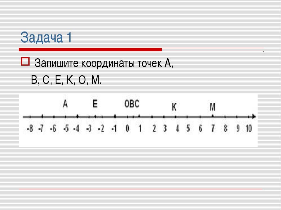 Задача 1 Запишите координаты точек А, В, С, Е, К, О, М.