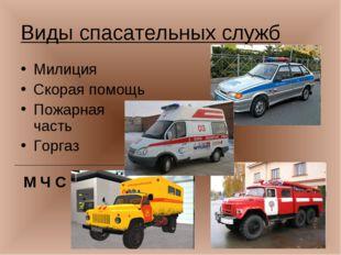 Виды спасательных служб Милиция Скорая помощь Пожарная часть Горгаз М Ч С