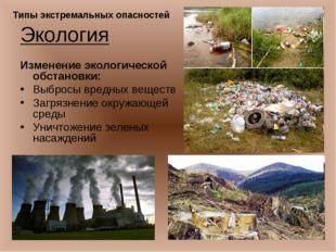 Экология Изменение экологической обстановки: Выбросы вредных веществ Загрязне