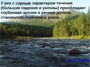 У рек с горным характером течения (большие падения и уклоны) преобладает глуб