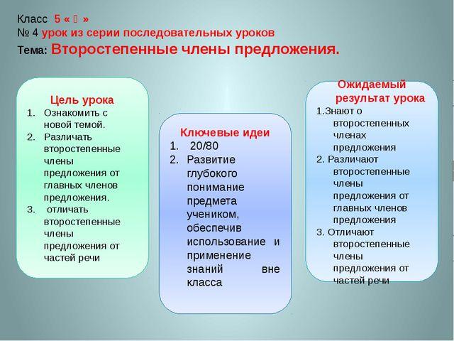 Класс 5 « Ә» № 4 урок из серии последовательных уроков Тема: Второстепенные ч...
