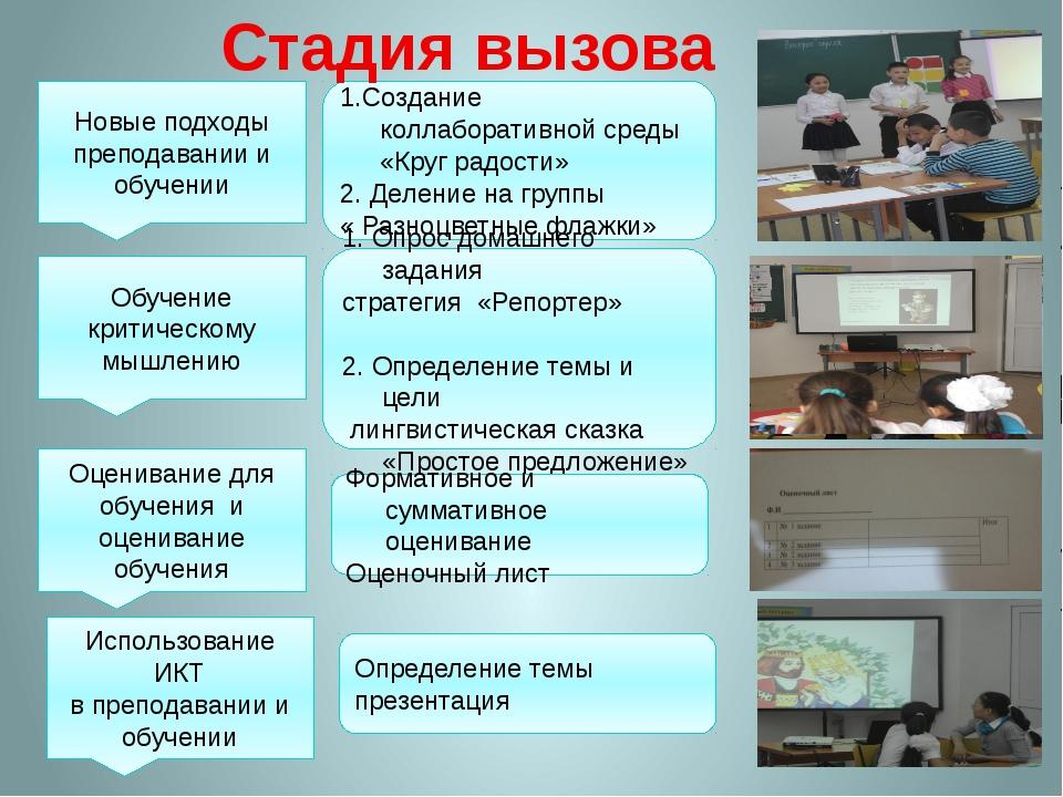 Новые подходы преподавании и обучении 1.Создание коллаборативной среды «Круг...