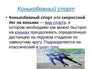 Конькобежный спорт Конькобежный спортилискоростной бег на коньках—вид спо
