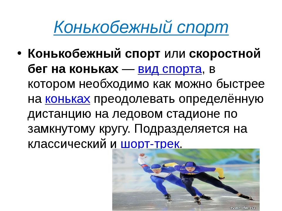 Конькобежный спорт Конькобежный спортилискоростной бег на коньках—вид спо...