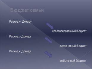 Расход = Доходу   сбалансированный бюджет Расход > Дохода дефицитный