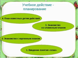 Учебное действие - планирование 1. Введение понятия «план» 2. Знакомство с к