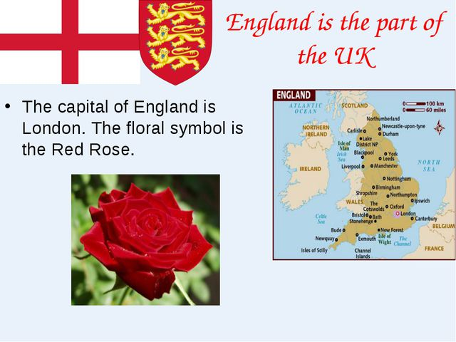 England is the part of the UK The capital of England is London. The floral sy...