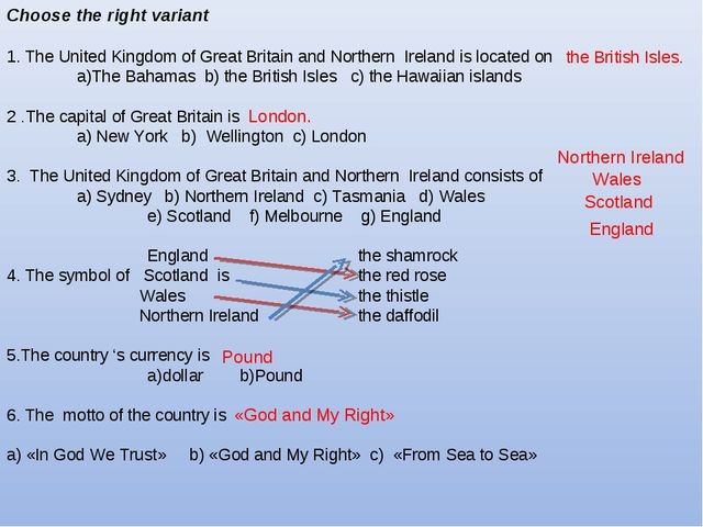 Choose the right variant 1. The United Kingdom of Great Britain and Northern...
