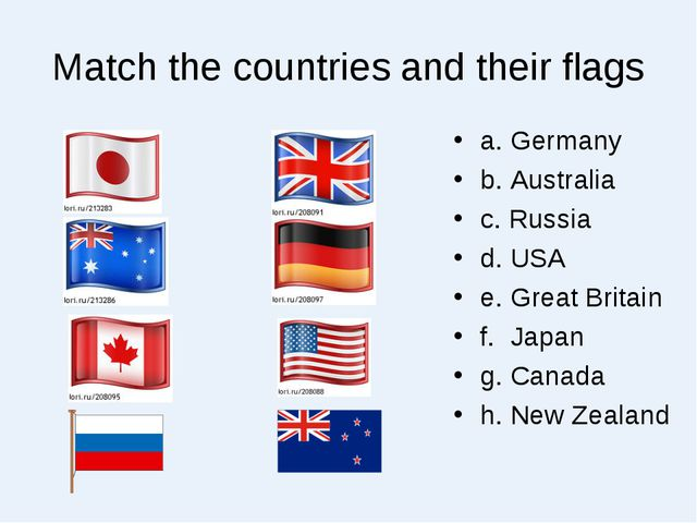 Match the countries and their flags a. Germany b. Australia c. Russia d. USA...