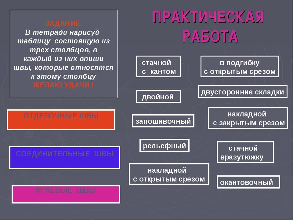 ПРАКТИЧЕСКАЯ РАБОТА СОЕДИНИТЕЛЬНЫЕ ШВЫ ОТДЕЛОЧНЫЕ ШВЫ КРАЕВЫЕ ШВЫ стачной с...