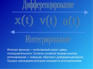 Интеграл функции — естественный аналог суммы последовательности. Согласно осн