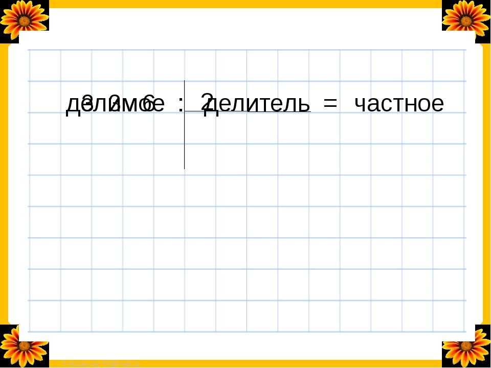 делимое : делитель = частное 3 3 6 2 FokinaLida.75@mail.ru
