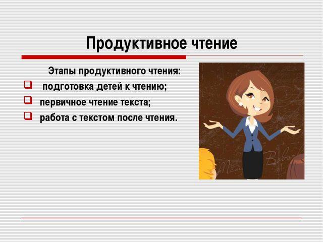Продуктивное чтение Этапы продуктивного чтения: подготовка детей к чтению;...