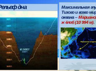 Максимальная глубина Тихого и всего мирового океана – Марианский жёлоб (10 9