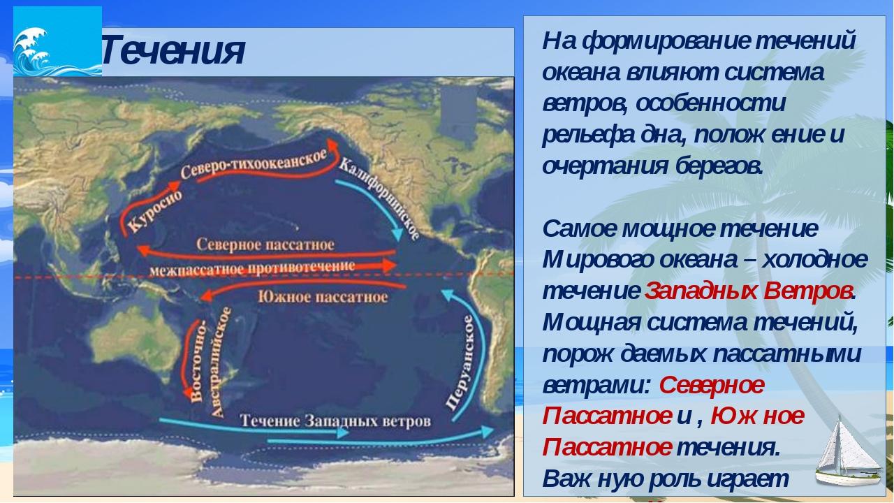 Течения На формирование течений океана влияют система ветров, особенности ре...