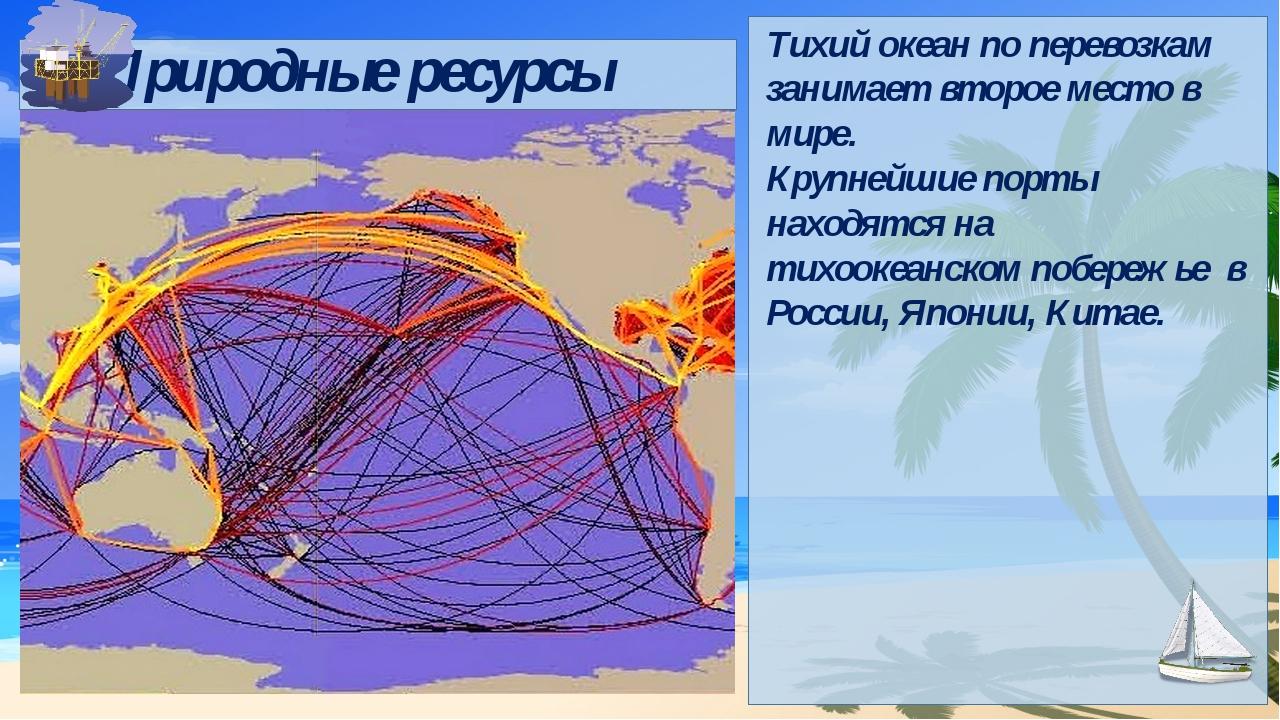 Природные ресурсы Тихий океан по перевозкам занимает второе место в мире. Кр...
