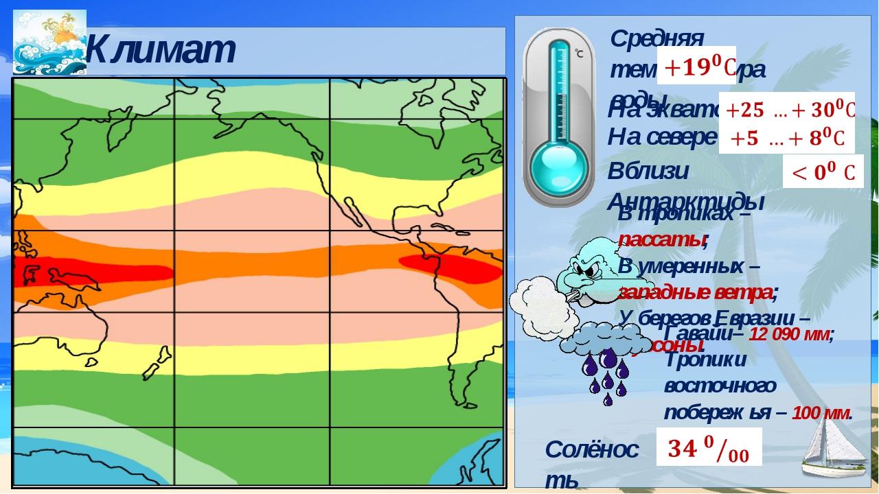 Средняя температура воды Климат Гавайи– 12 090 мм; Тропики восточного побере...