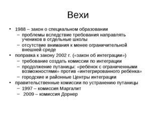Вехи 1988 – закон о специальном образовании проблемы вследствие требования на