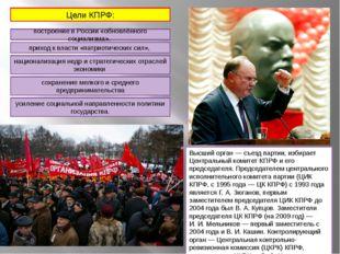 Высший орган— съезд партии, избирает Центральный комитет КПРФ и его председа