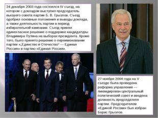 24 декабря 2003 года состоялся IV съезд, на котором с докладом выступил предс