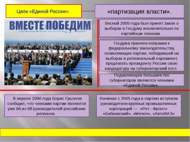 «партизация власти». Цели «Единой России»: Весной 2005 года был принят закон...