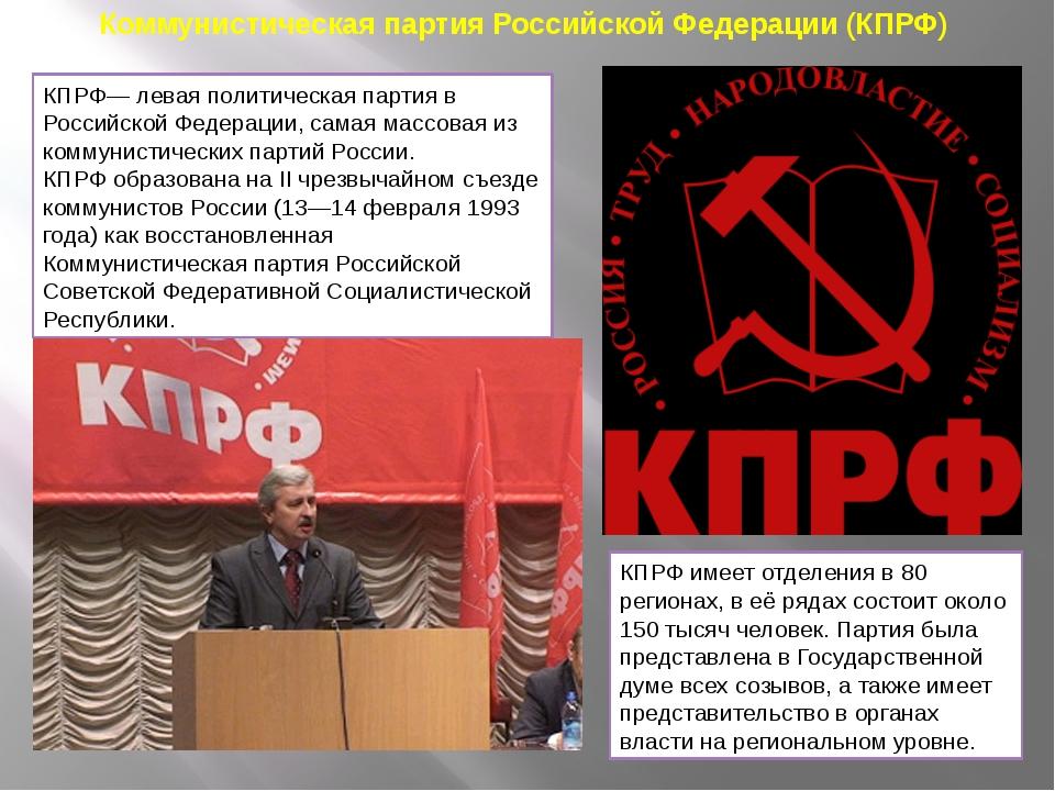 Коммунистическая партия Российской Федерации (КПРФ) КПРФ— левая политическая...