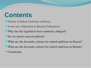 Сontents History of School Uniforms in Russia; A new low «Education in Russia