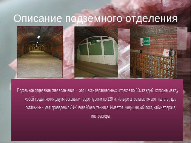 Описание подземного отделения Подземное отделение спелеолечения - это шесть п...