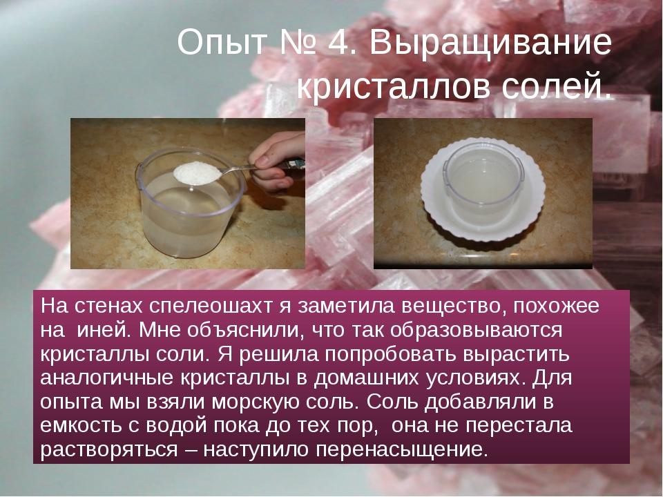 Опыт № 4. Выращивание кристаллов солей. На стенах спелеошахт я заметила вещес...