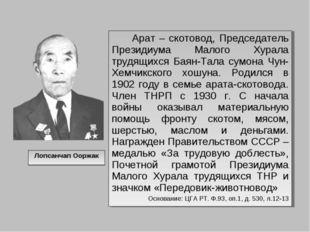 Лопсанчап Ооржак Арат – скотовод, Председатель Президиума Малого Хурала трудя