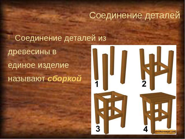 Соединение деталей Соединение деталей из древесины в единое изделие называют...