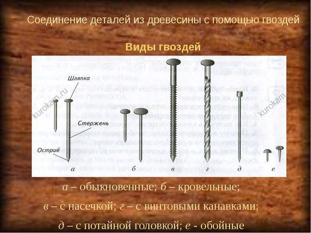 Соединение деталей из древесины с помощью гвоздей а – обыкновенные; б – крове...