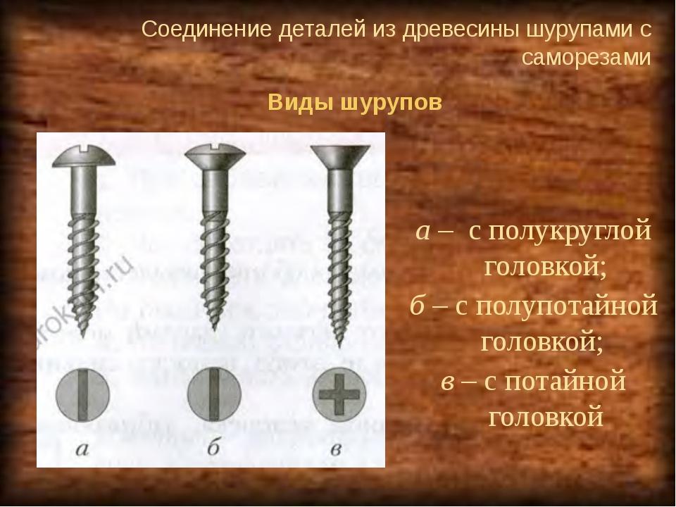 Соединение деталей из древесины шурупами с саморезами  Виды шурупов а – с по...