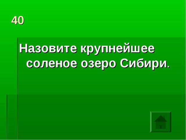 40 Назовите крупнейшее соленое озеро Сибири.