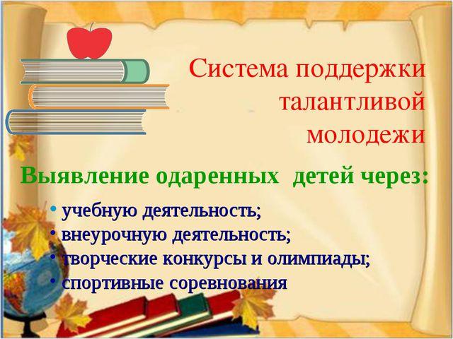 Система поддержки талантливой молодежи Выявление одаренных детей через: учебн...