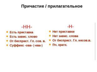 Причастие / прилагательное