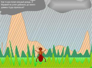 Как-то раз полил сильный дождь. А Муравей не успел добежать до своего домика