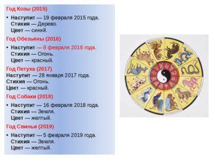Год Козы (2015) Наступит— 19 февраля 2015 года. Стихия— Дерево. Цвет— сини