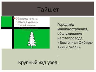 Тайшет Город ж/д машиностроения, обслуживание нефтепровода «Восточная Сибирь-