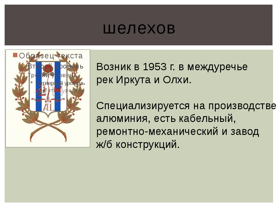 шелехов Возник в 1953 г. в междуречье рек Иркута и Олхи. Специализируется на...