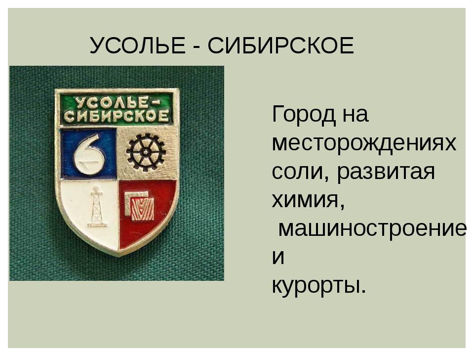 УСОЛЬЕ - СИБИРСКОЕ Город на месторождениях соли, развитая химия, машиностроен...