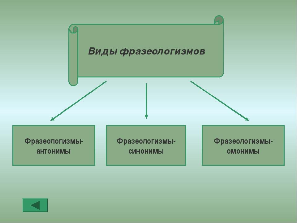 Фразеологизмы- антонимы Фразеологизмы- синонимы Фразеологизмы- омонимы Виды ф...