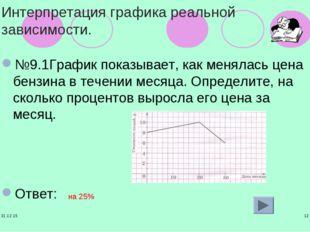 * * Интерпретация графика реальной зависимости. №9.1График показывает, как ме