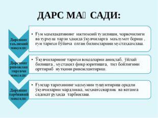 ДАРС МАҚСАДИ: